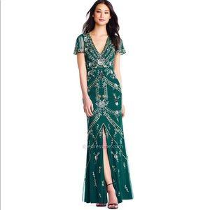 Bohemian floral beads flutter sleeve dress